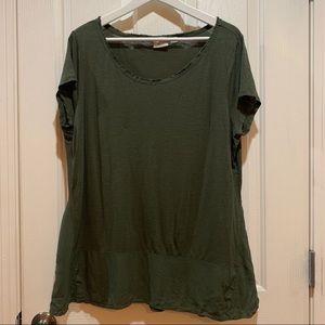 Anthropologie Postmark Green Tee XL Top SS Shirt